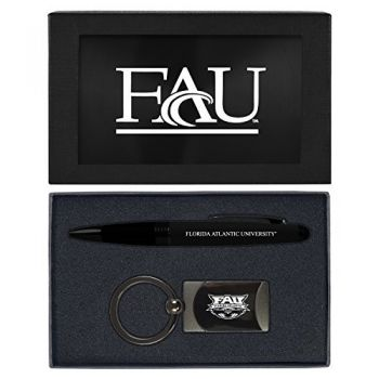 Florida Atlantic University -Executive Twist Action Ballpoint Pen Stylus and Gunmetal Key Tag Gift Set-Black