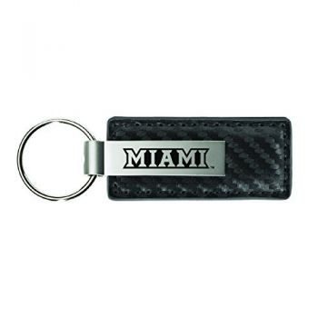 Miami University-Carbon Fiber Leather and Metal Key Tag-Grey