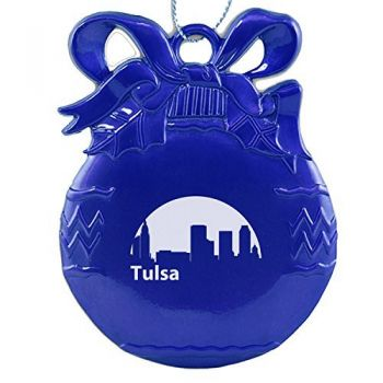 Pewter Christmas Bulb Ornament - Tulsa City Skyline