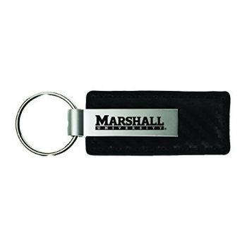 Marshall University-Carbon Fiber Leather and Metal Key Tag-Black