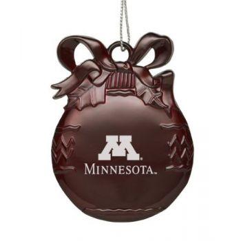 University of Minnesota - Pewter Christmas Tree Ornament - Burgundy