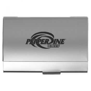Pepperdine University - Two-Tone Business Card Holder - Silver