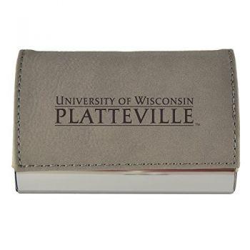 Velour Business Cardholder-University of Wisconsin-Platteville-Grey
