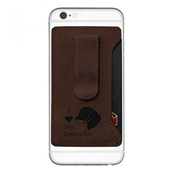 Cell Phone Card Holder Wallet with Money Clip  - I Love My Rottweiler