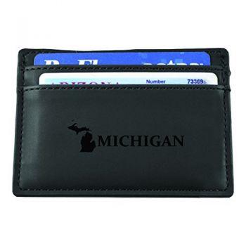 Michigan-State Outline-European Money Clip Wallet-Black