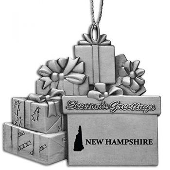 New Hampshire-State Outline-Pewter Gift Package Ornament-Silver