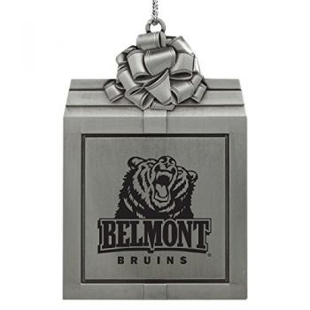 Belmont University-Pewter Christmas Holiday Present Ornament-Silver