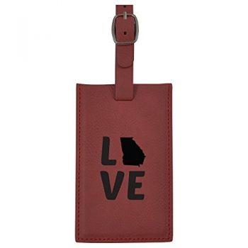 Georgia-State Outline-Love-Leatherette Luggage Tag -Burgundy