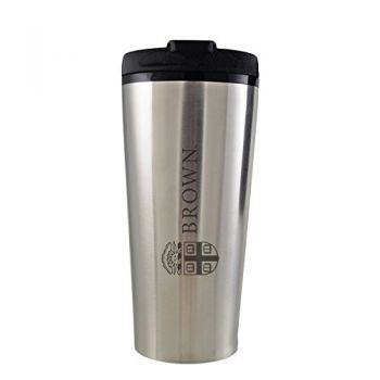 Brown University -16 oz. Travel Mug Tumbler-Silver