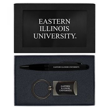 Eastern Illinois University -Executive Twist Action Ballpoint Pen Stylus and Gunmetal Key Tag Gift Set-Black