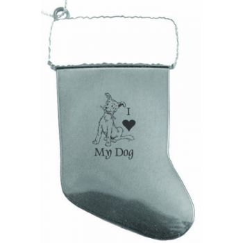 Solid Pewter Christmas Ornament - I Love My Dog - Silver