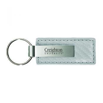 Creighton University-Carbon Fiber Leather and Metal Key Tag-White