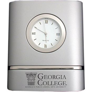 Georgia College & State University- Two-Toned Desk Clock -Silver