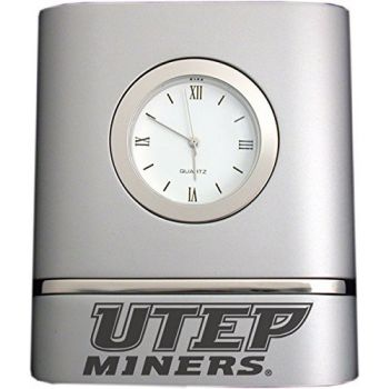 University of Texas at El Paso- Two-Toned Desk Clock -Silver