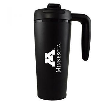 University of Minnesota -16 oz. Travel Mug Tumbler with Handle-Black