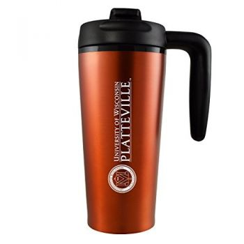 University of Wisconsin-Platteville-16 oz. Travel Mug Tumbler with Handle-Orange