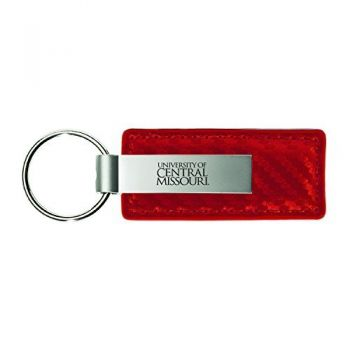 University of Central Missouri-Carbon Fiber Leather and Metal Key Tag-Red