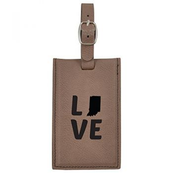 Indiana-State Outline-Love-Leatherette Luggage Tag -Brown