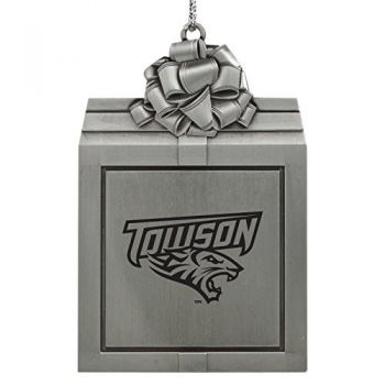 Towson University -Pewter Christmas Holiday Present Ornament-Silver