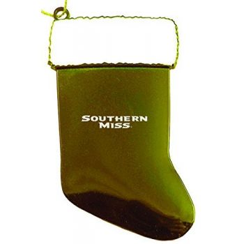 University of Southern Mississippi - Christmas Holiday Stocking Ornament - Gold