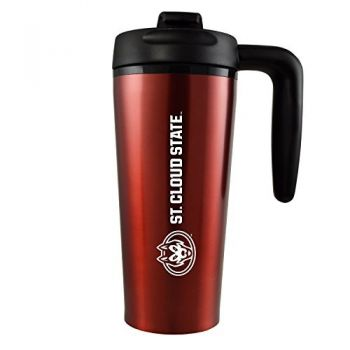 St. Cloud State University -16 oz. Travel Mug Tumbler with Handle-Red