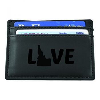 Idaho-State Outline-Love-European Money Clip Wallet-Black