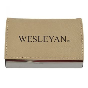 Velour Business Cardholder-Wesleyan University-Tan