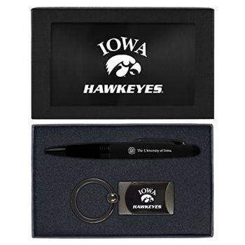 University of Iowa-Executive Twist Action Ballpoint Pen Stylus and Gunmetal Key Tag Gift Set-Black