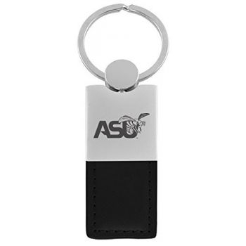 Alabama State University-Leather and Metal Keychain-Black