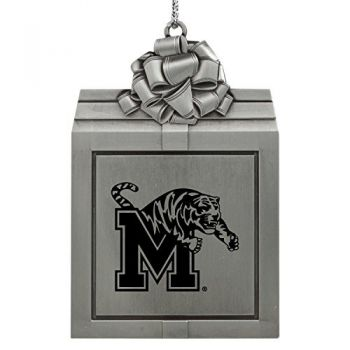 University of Memphis-Pewter Christmas Holiday Present Ornament-Silver