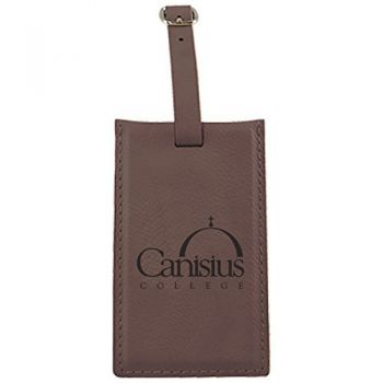 Canisus College -Leatherette Luggage Tag-Brown