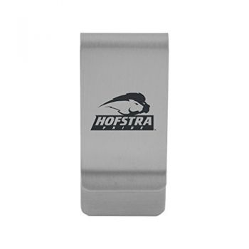 Hofstra University |Money Clip with Contemporary Metals Finish|Solid Brass|High Tension Clip to Securely Hold Cash, Cards and ID's|Gold