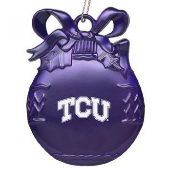 Texas Christian University - Pewter Christmas Tree Ornament - Purple