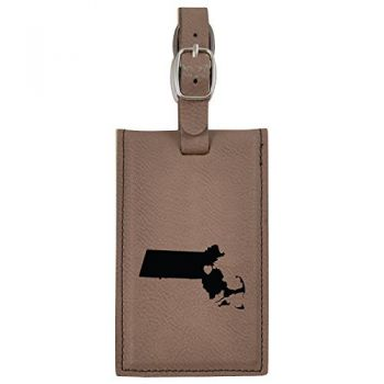 Massachusetts-State Outline-Heart-Leatherette Luggage Tag -Brown