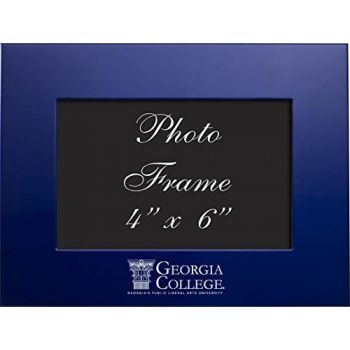 Georgia College - 4x6 Brushed Metal Picture Frame - Blue