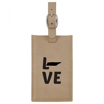 Tennessee-State Outline-Love-Leatherette Luggage Tag -Tan