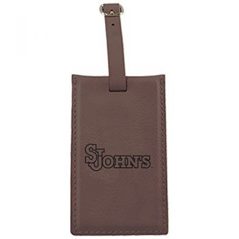 St. John's University -Leatherette Luggage Tag-Brown