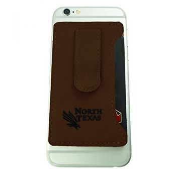 University of North Texas-Leatherette Cell Phone Card Holder-Brown