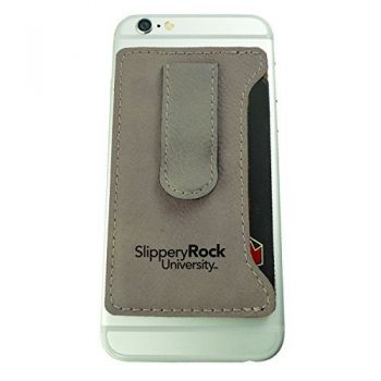 Slippery Rock University -Leatherette Cell Phone Card Holder-Tan