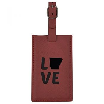 Arkansas-State Outline-Love-Leatherette Luggage Tag -Burgundy