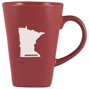 14 oz Square Ceramic Coffee Mug - Minnesota State Outline - Minnesota State Outline