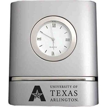 University of Texas at Arlington- Two-Toned Desk Clock -Silver