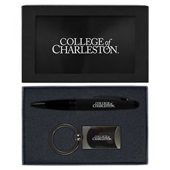 College of Charleston-Executive Twist Action Ballpoint Pen Stylus and Gunmetal Key Tag Gift Set-Black