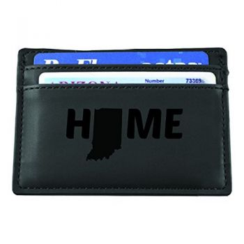 Indiana-State Outline-Home-European Money Clip Wallet-Black