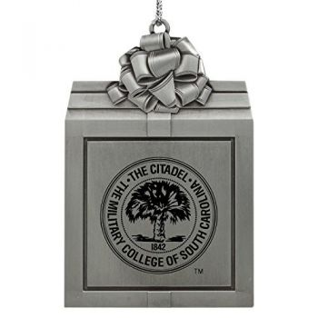 The Citadel-Pewter Christmas Holiday Present Ornament-Silver