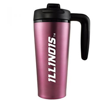 University of Illinois -16 oz. Travel Mug Tumbler with Handle-Pink