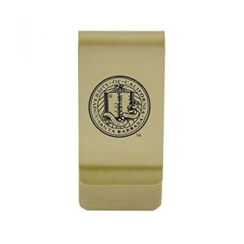 University of California, Riverside|Money Clip with Contemporary Metals Finish|Solid Brass|High Tension Clip to Securely Hold Cash, Cards and ID's|Silver