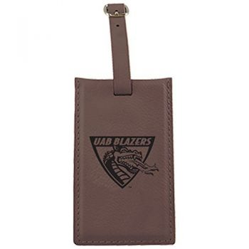 University of Alabama at Birmingham -Leatherette Luggage Tag-Brown