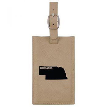 Nebraska-State Outline-Leatherette Luggage Tag -Tan