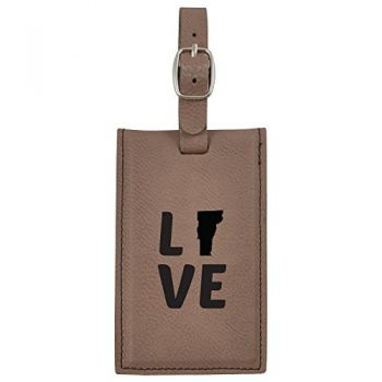 Vermont-State Outline-Love-Leatherette Luggage Tag -Brown